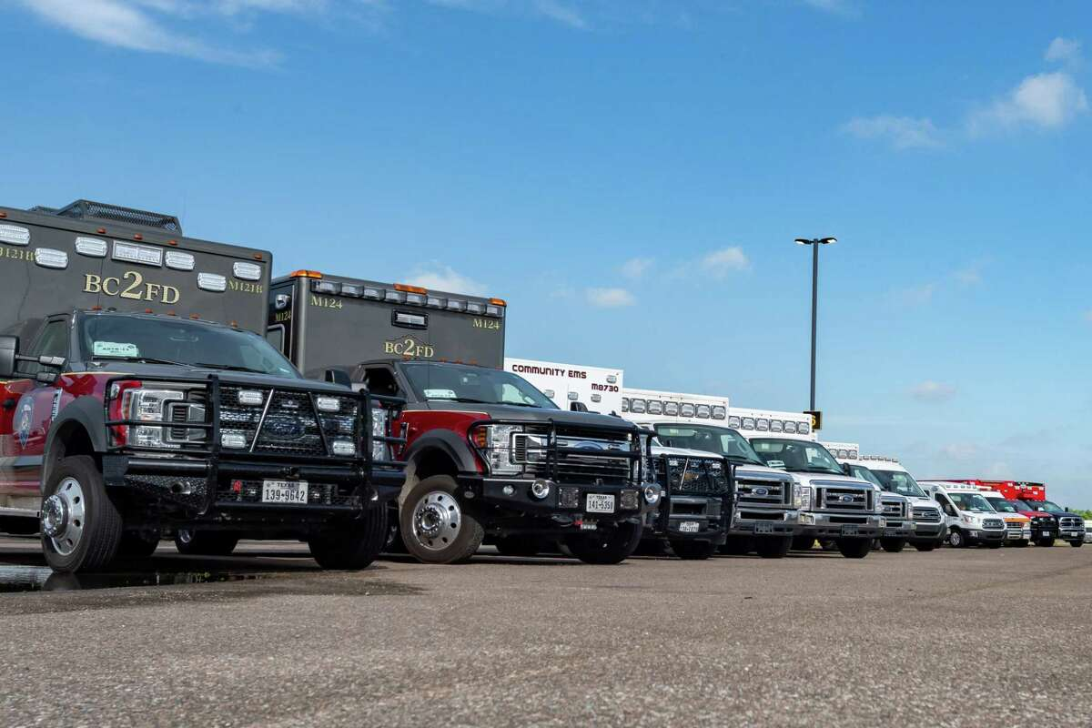 Dozens of ambulances and their crews are ready at Ford Park to meet any medical emergency brought on by the hurricane. Before winds from Hurricane Laura begin picking up, more than 100 emergency vehicles staged at Ford Park. Photo made on August 26, 2020. Fran Ruchalski/The Enterprise