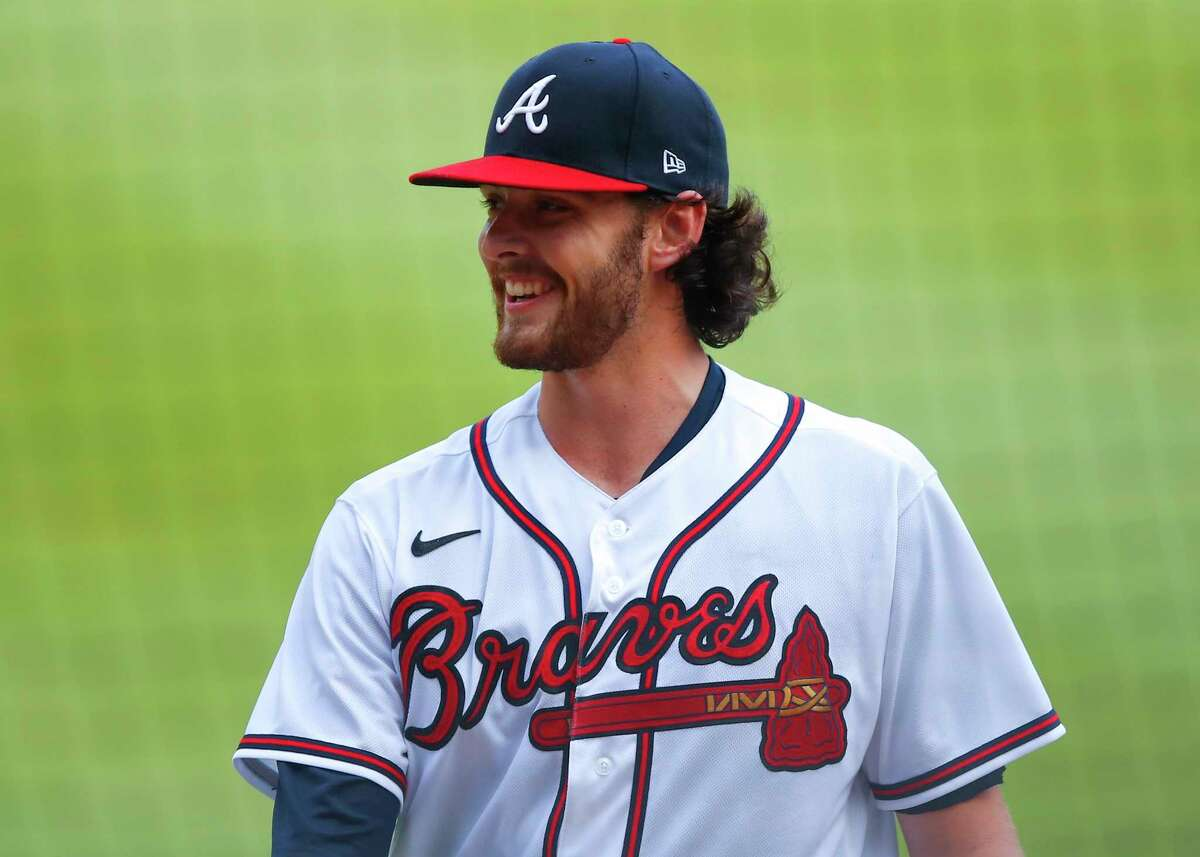 ATLANTA, GA - AUGUST 25: Ian Anderson #48 of the Atlanta Braves smiles as he heads to the dugout in the fifth inning of game one of the MLB doubleheader against the New York Yankees at Truist Park on August 26, 2020 in Atlanta, Georgia.