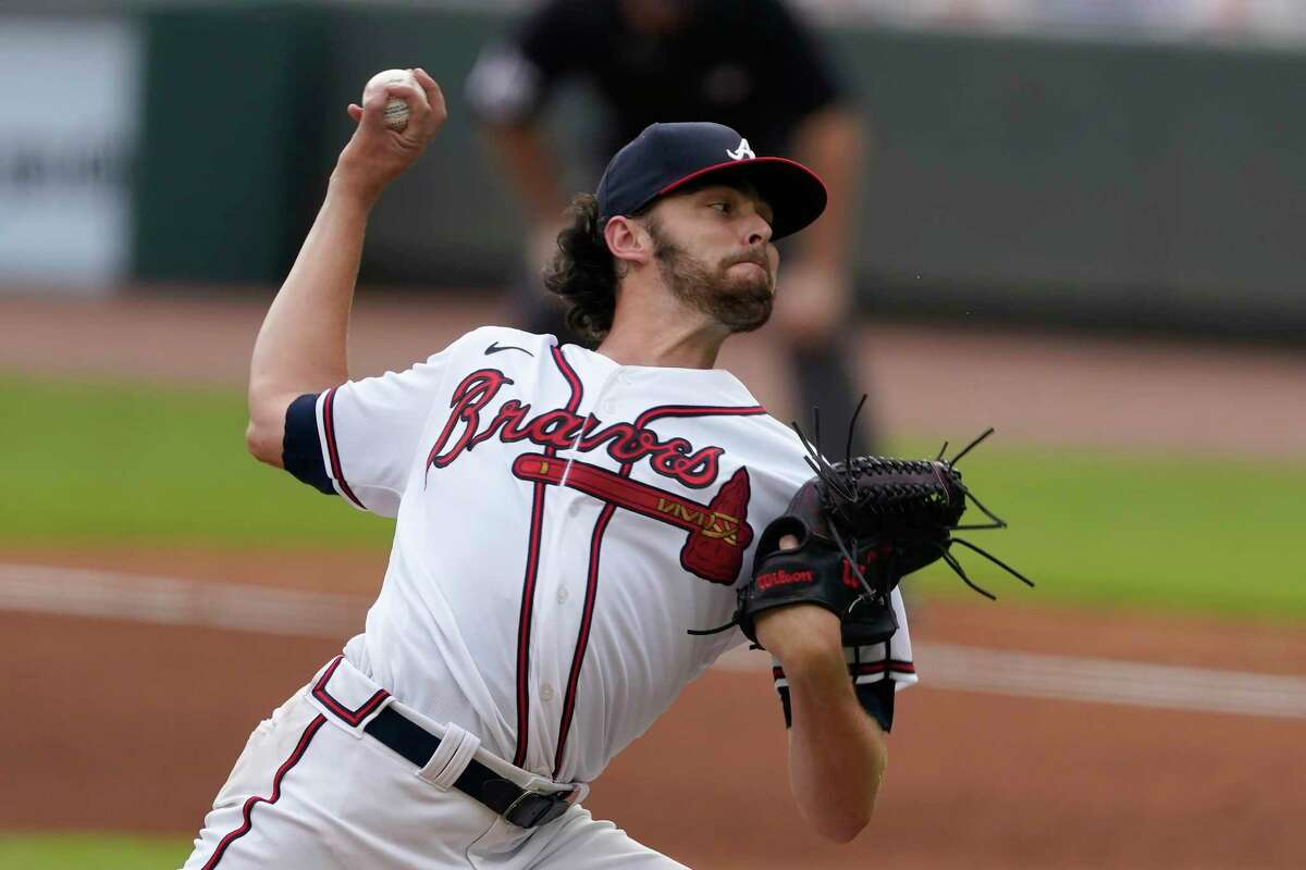 Atlanta Braves starting pitcher Ian Anderson works against the New York Yankees in the fourth inning of game one of baseball doubleheader Wednesday, Aug. 26, 2020, in Atlanta.