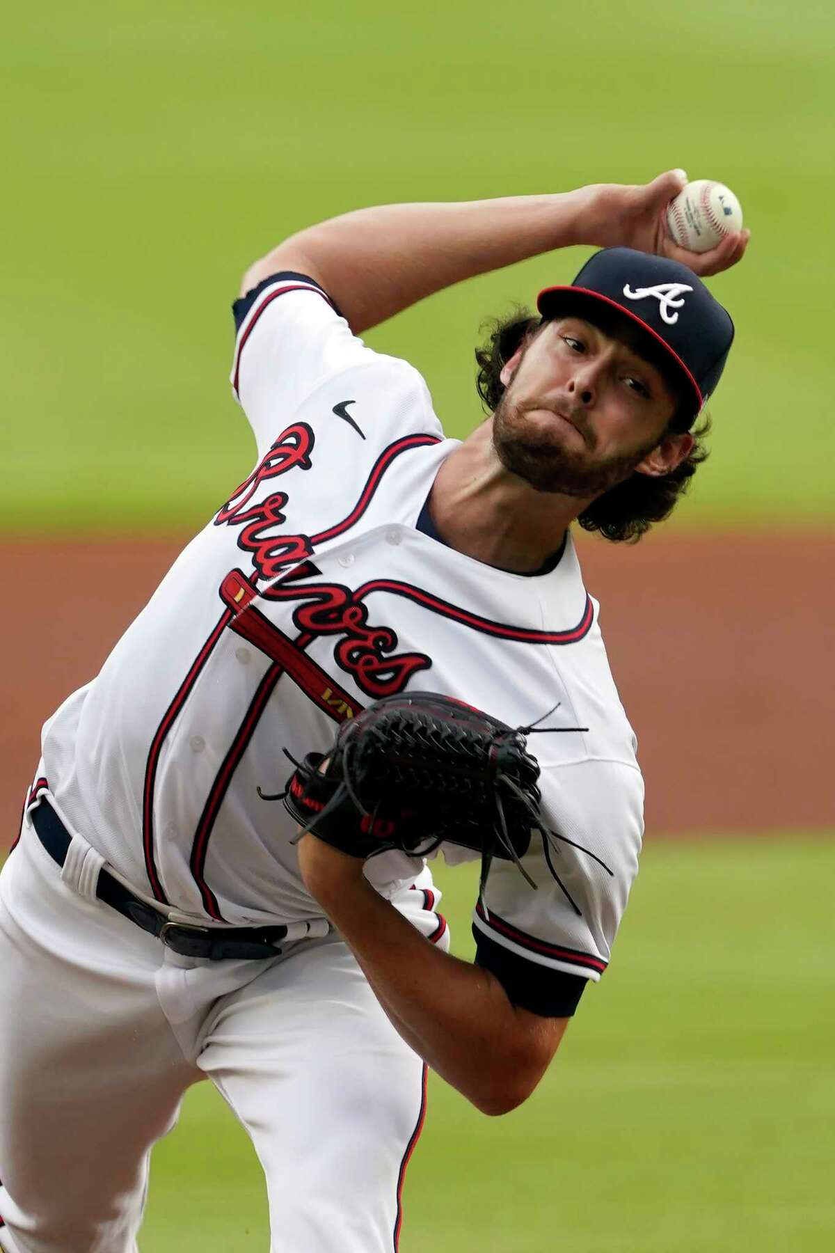 Atlanta Braves starting pitcher Ian Anderson works against the New York Yankees during the fourth inning of the first game of baseball doubleheader Wednesday, Aug. 26, 2020, in Atlanta.