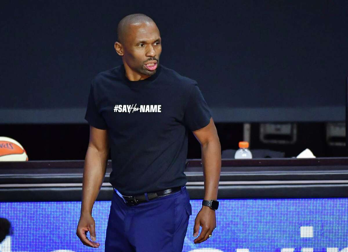 PALMETTO, FLORIDA - AUGUST 12: Head coach James Wade of the Chicago Sky looks on during the first half of a game against the Phoenix Mercury at Feld Entertainment Center on August 12, 2020 in Palmetto, Florida. NOTE TO USER: User expressly acknowledges and agrees that, by downloading and or using this photograph, User is consenting to the terms and conditions of the Getty Images License Agreement. (Photo by Julio Aguilar/Getty Images)