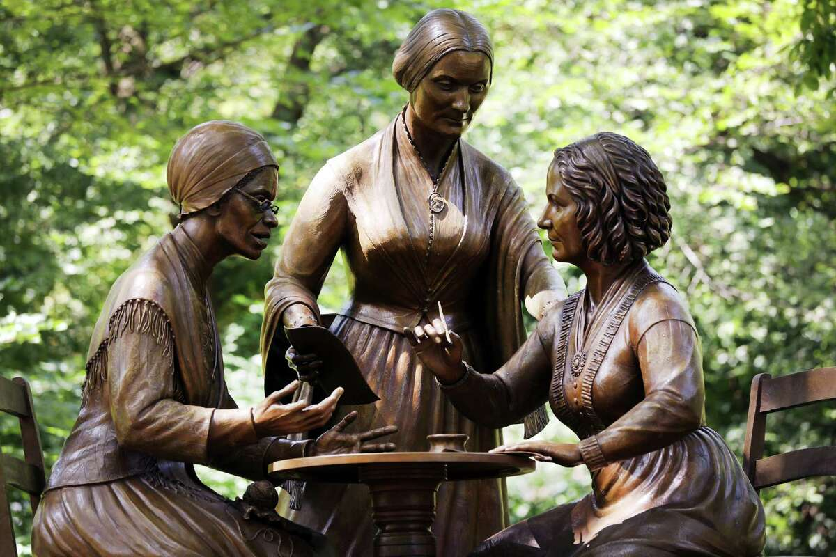 NEW YORK, NEW YORK - AUGUST 26: A new statue of women's rights pioneers Sojourner Truth, Susan B Anthony, and Elizabeth Cady Stanton is unveiled at Central Park on the 100th anniversary of the 19th amendment on August 26, 2020 in New York City. Artist Meredith Bergmann, a lifelong New Yorker, sculpted the statue of the three main figures in the women's rights movement. None of the woman lived long enough to see American women gain the right to vote. (Photo by Spencer Platt/Getty Images)