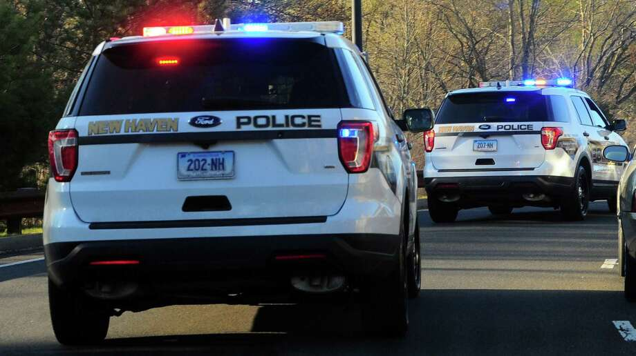 File photo of New Haven, Conn., police cruisers, taken in April 2020. Photo: Christian Abraham / Hearst Connecticut Media / Connecticut Post