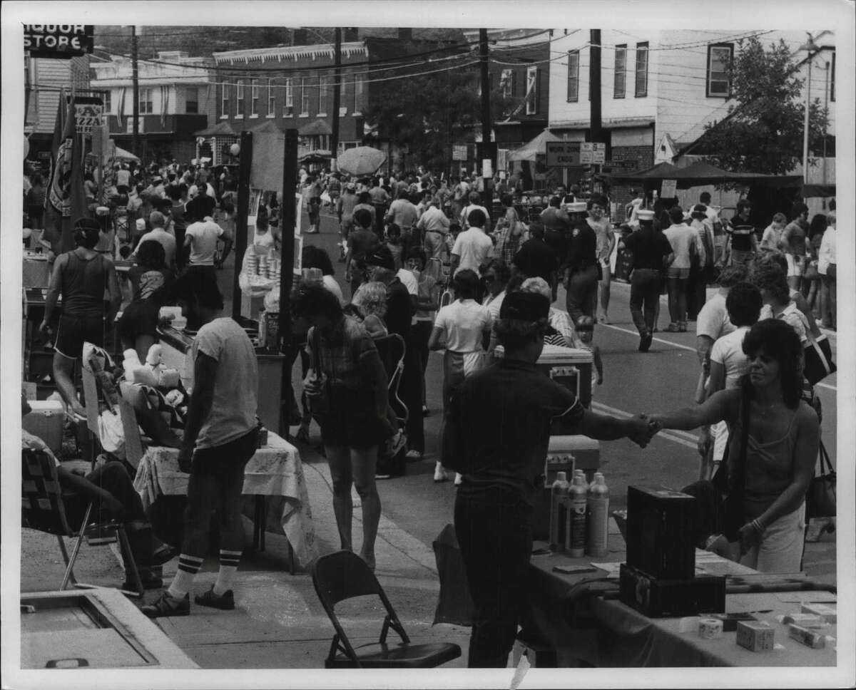 On this date in 1983, the Ravena-Coeymans Friendship Festival took place on Main Street. Here's a section of the crowd. (Bob Richey/Times Union Archive)