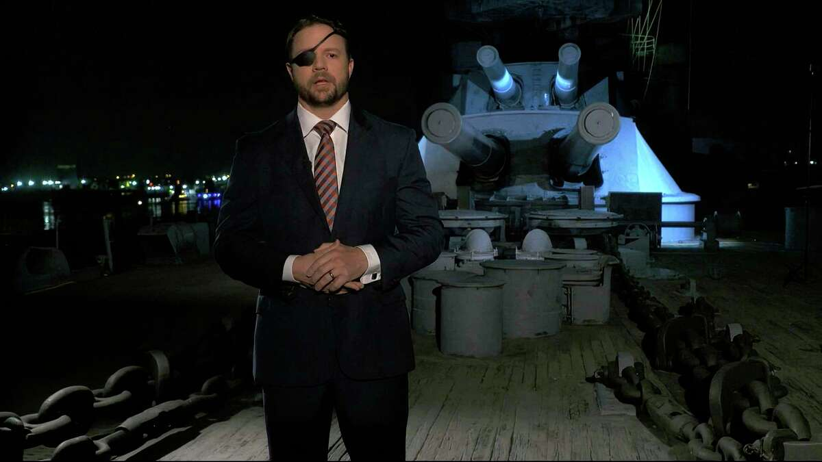 In this image from video, Rep. Dan Crenshaw, R-Houston, speaks from Battleship Texas in La Porte, during the third night of the Republican National Convention on Wednesday, Aug. 26, 2020. (Courtesy of the Committee on Arrangements for the 2020 Republican National Committee via AP)