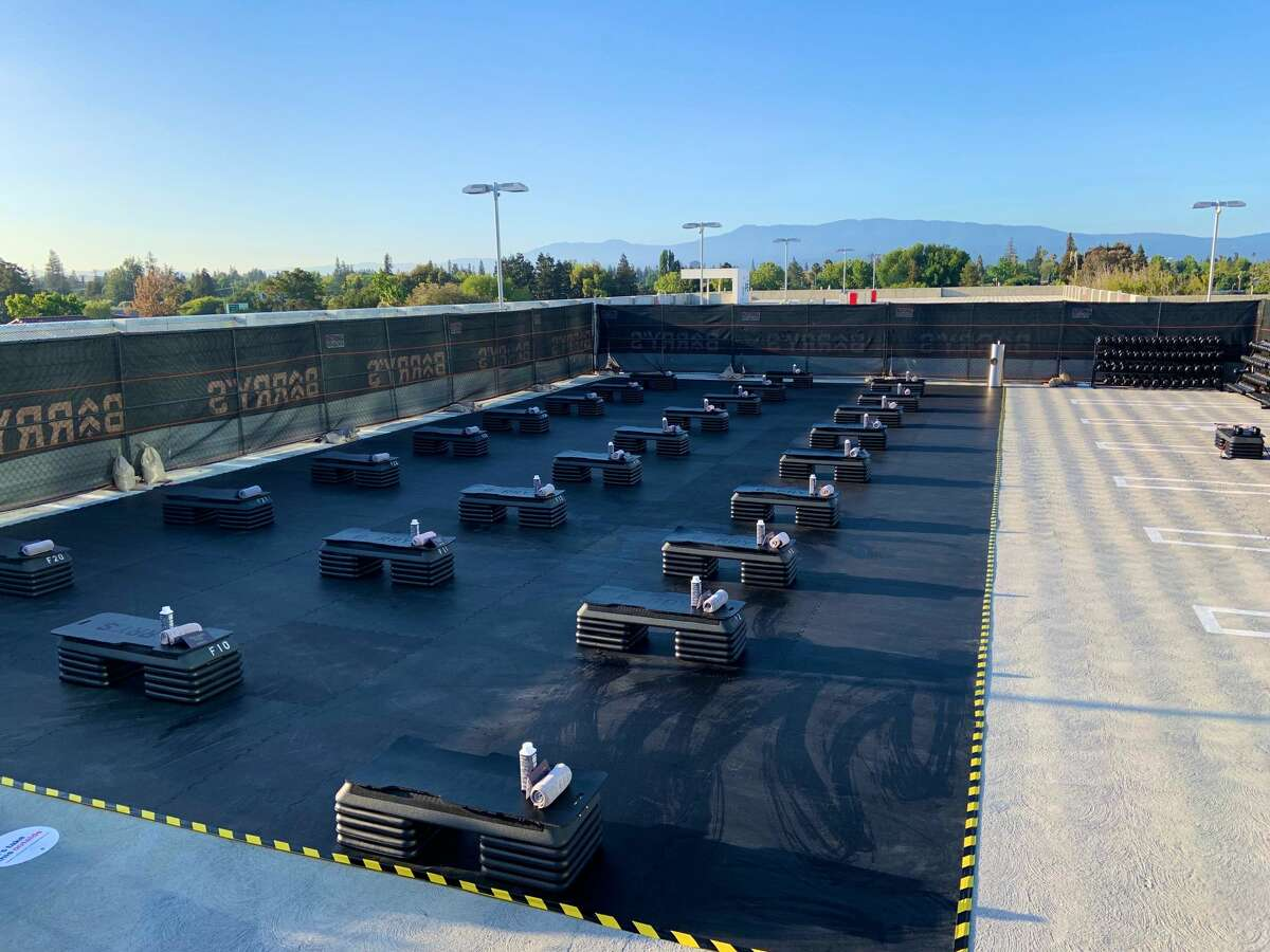 A look at Barry's Bootcamp's Palo Alto location atop the Stanford Shopping Center parking lot.