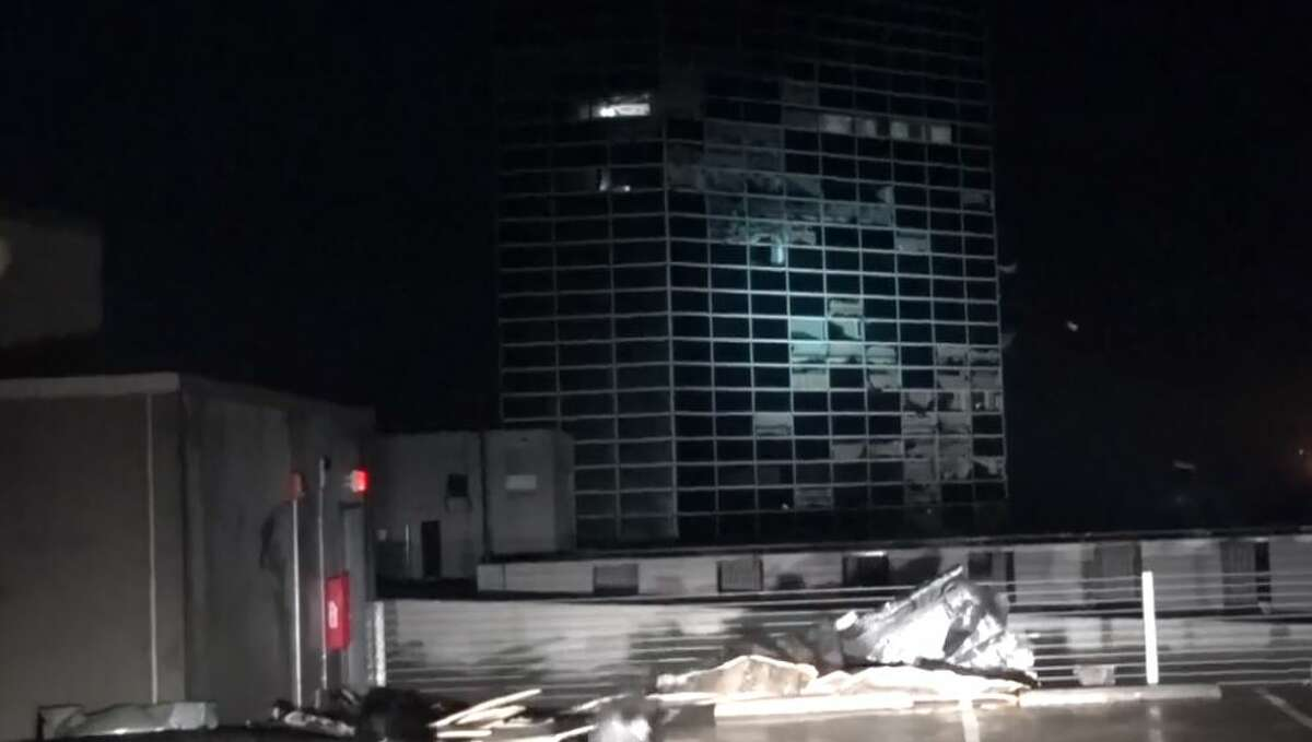 A downtown skyscraper in Louisiana was ripped apart by Hurricane Laura shortly after the storm made landfall on Thursday.