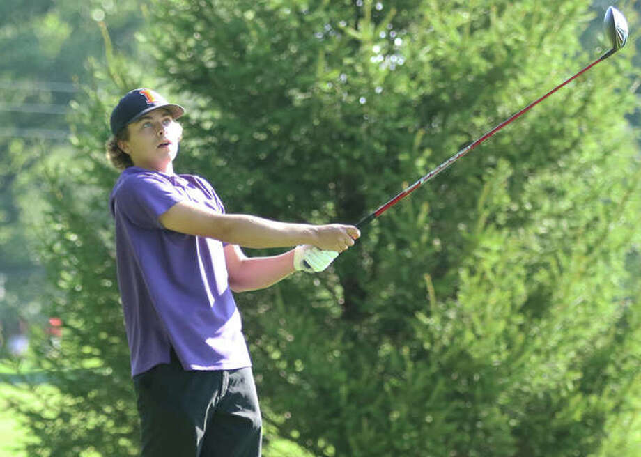 CM's Nick Williams shot a 42 for medalist honors and led the Eagles to a wins over Collinsville and Alton Wednesday at Spencer T. Olin Golf Course. He is shown playing in the Hickory Stick Invite last week.