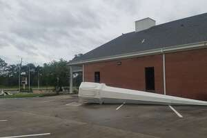 The steeple of Winfree Baptist Church on Highway 62 in Orange was damaged by overnight winds accompanying Hurricane Laura's landfall.