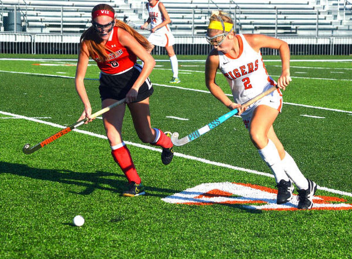 Edwardsville forward Rachel Goebel races down the field during a game inside the District 7 Sports Complex.