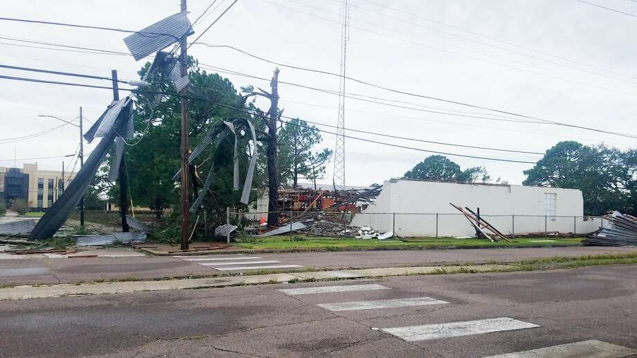 Hurricane Laura caused extensive damage at Seventh and Front streets in Orange. Photo: Fran Ruchalski