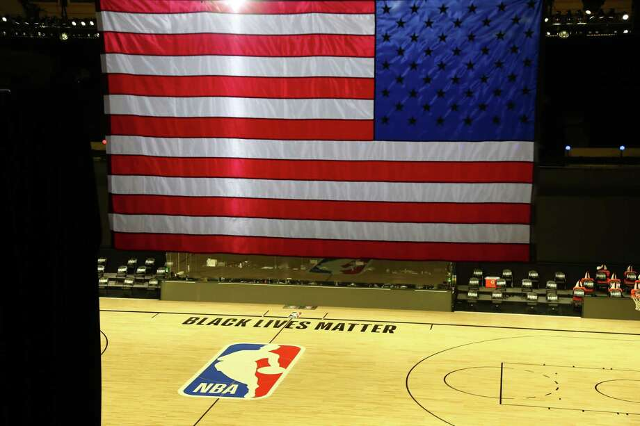 A general view of the court before game five of the first round of the NBA Playoffs between the Oklahoma City Thunder and the Houston Rockets at The Field House at ESPN Wide World Of Sports Complex on August 26, 2020 in Lake Buena Vista, Florida. Photo: Pool, Getty Images / 2020 Getty Images