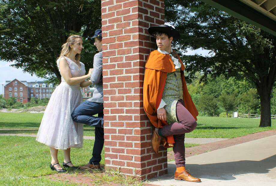 "Jessica Breda, Mitchel Kawash and Eric Bermudez rehearse for ""Cyrano"" in Shelton. Photo: Valley Shakespeare / Contributed Photo"