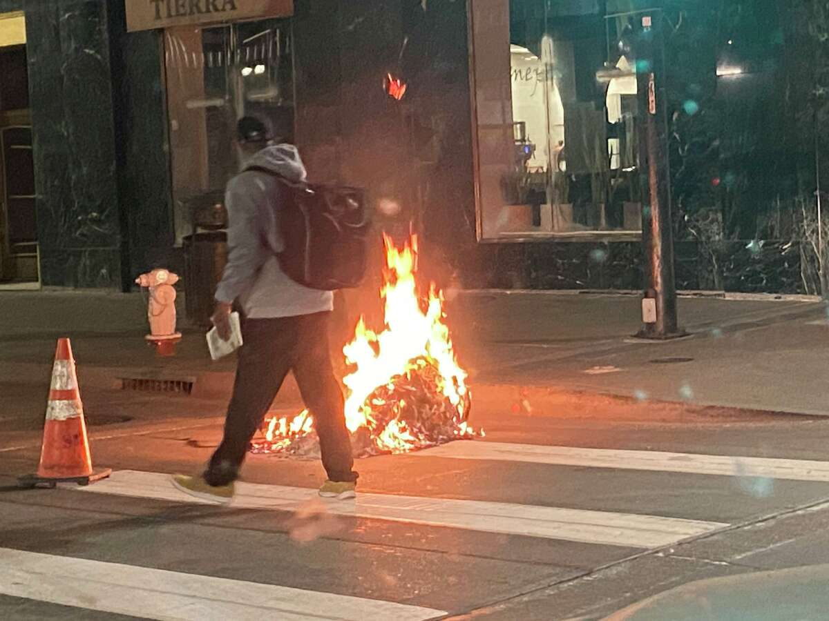Several people were arrested after protests in downtown Oakland against the shooting of Jacob Blake in Wisconsin turned violent on Aug. 27, 2020.