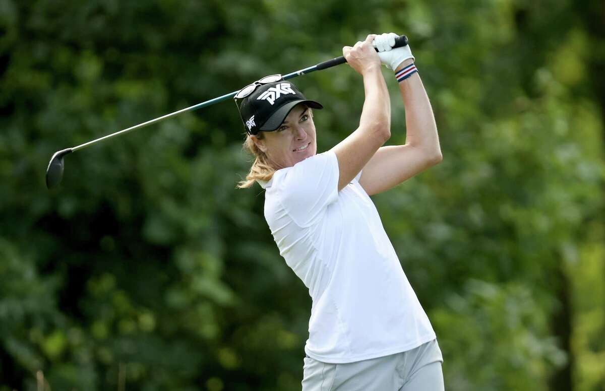 SYLVANIA, OHIO - AUGUST 06: Alison Walshe hits a tee shot the ninth hole during the first round of the Marathon LPGA Classic at Highland Meadows Golf Club on August 06, 2020 in Sylvania, Ohio. (Photo by Gregory Shamus/Getty Images)