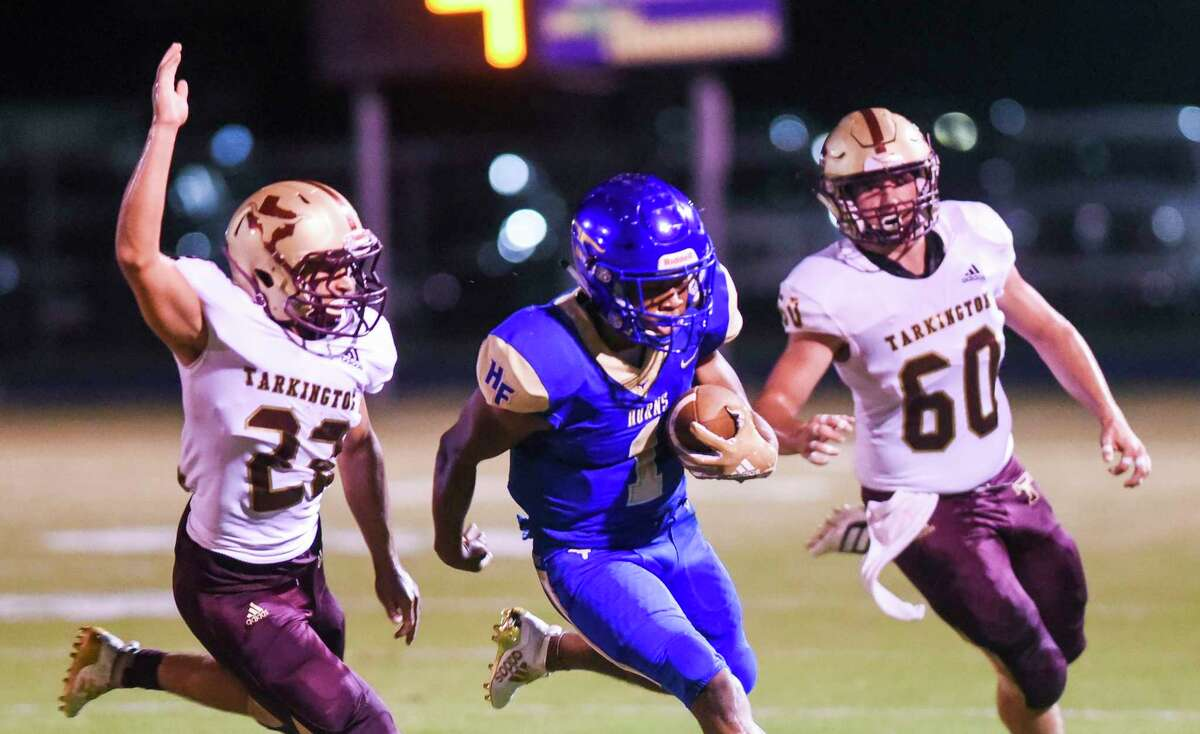 Hamshire-Fannett's Marcus Morris runs the ball down the field during the first half of the game at Longhorn Stadium in Hamshire Friday night. Photo taken on Friday, 09/27/19. Ryan Welch/The Enterprise
