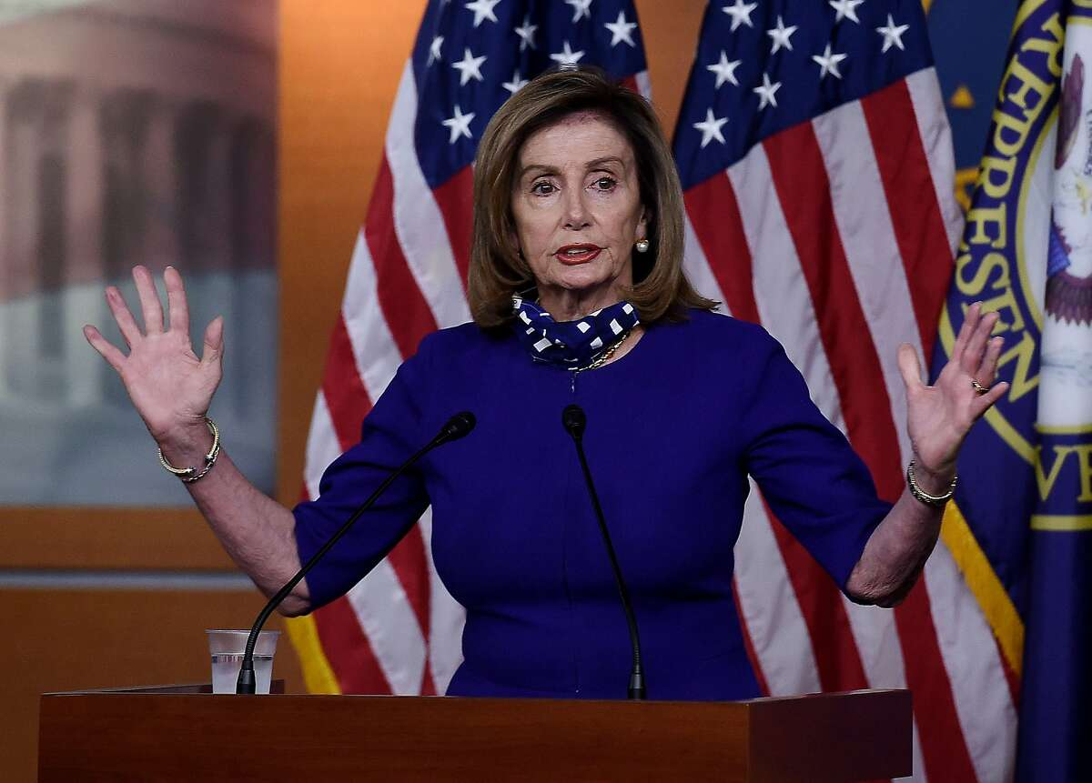 US Speaker of the House Nancy Pelosi (D-CA) speaks to reporters during her weekly press conference at the US Capitol on August 27, 2020 in Washington, DC. (Photo by Olivier DOULIERY / AFP) (Photo by OLIVIER DOULIERY/AFP via Getty Images)