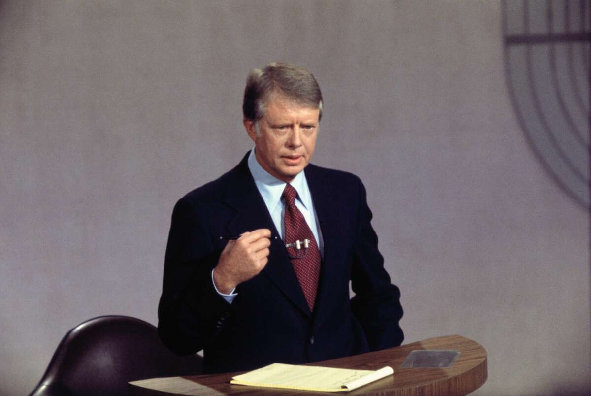 Jimmy Carter speaking at the 1976 Presidential Debate in San Francisco; Carter was debating with Gerald Ford.