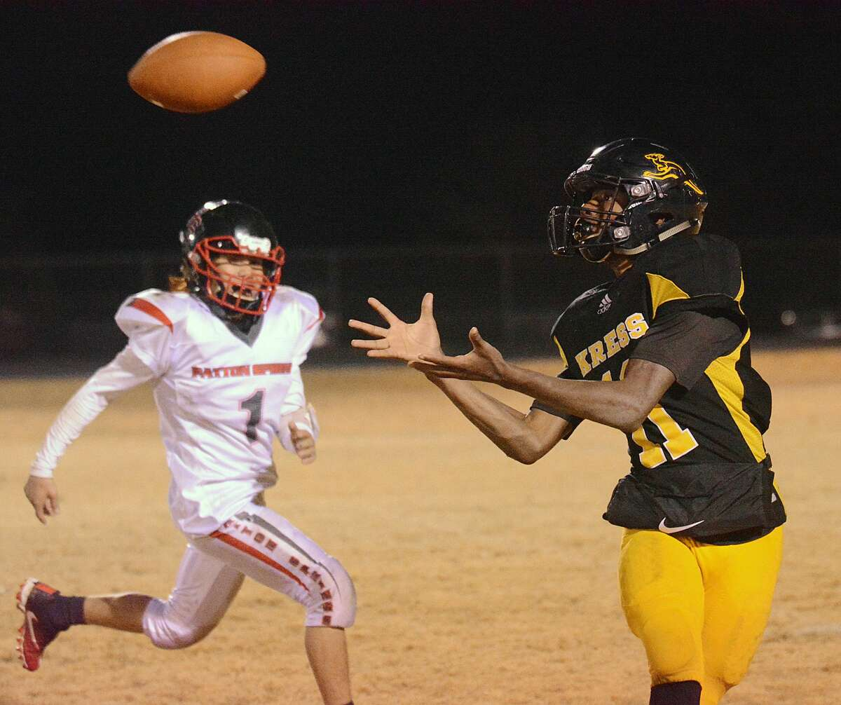Kress' Quavi Ellis hauls in a pass during a district football game against Patton Springs last season. Ellis and the Kress Kangaroos will take on Lefors to begin their quest to make a repeat trip to the playoffs.