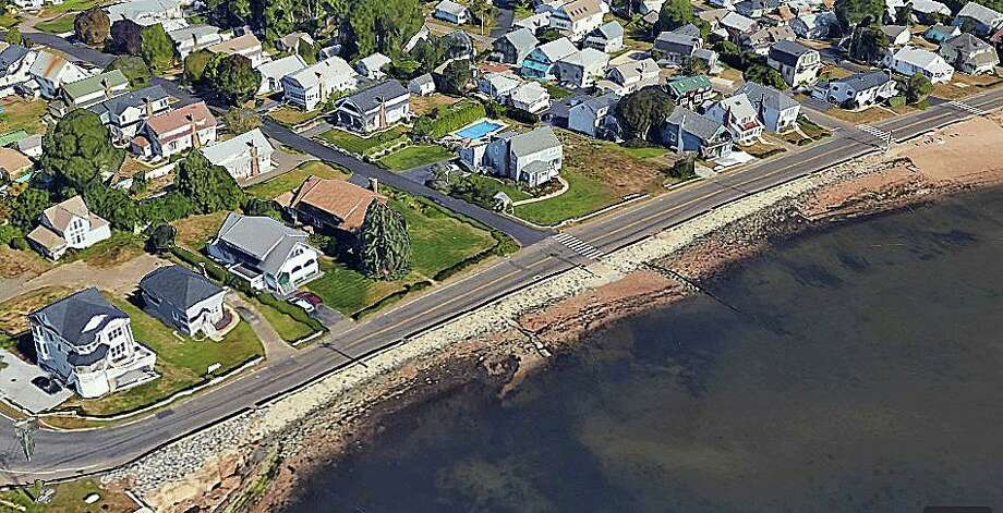 A $5.8 million project to replace a deteriorating seawall on Route 146 in Branford  is set to begin on Sept. 8. Photo: Google Earth Image