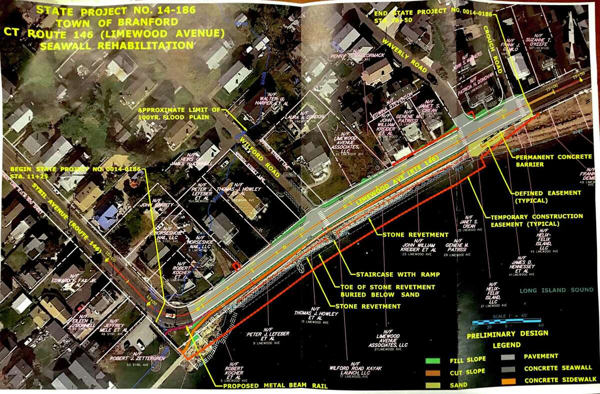 A picture of the proposedproposed seawall rehabilitation on Limewood Avenue, or Scenic Route 146, in Branford.