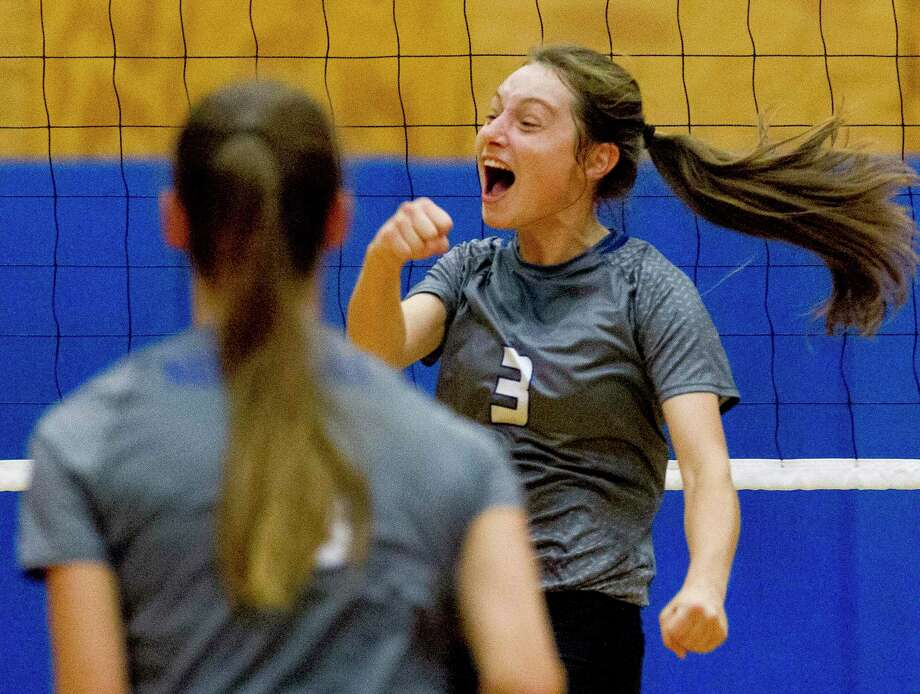 New Caney outside hitter Erin Plunkett (3) reacts after scoring a point in the third set of a match during the Spring ISD Varsity Volleyball Classic at Dekaney High School, Saturday, Aug. 17, 2019, in Houston. Photo: Jason Fochtman, Houston Chronicle / Staff Photographer / Houston Chronicle
