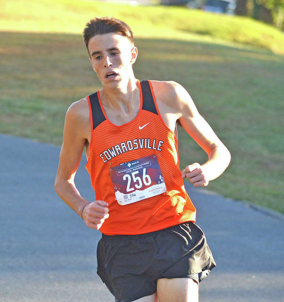 Edwardsville's Ryan Watts runs last year in the Madison County Large School Meet at Belk Park in Wood River.