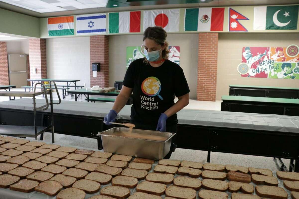 The World Central Kitchen team prepares sandwiches in Beaumont, Texas, after Hurricane Laura.