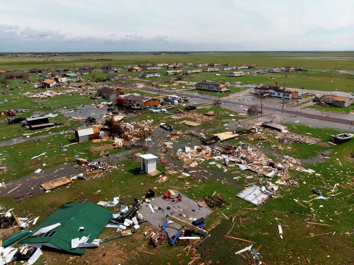 This aerial view shows damage to a neighborhood by Hurricane Laura outside of Lake Charles, Louisiana, on August 27.