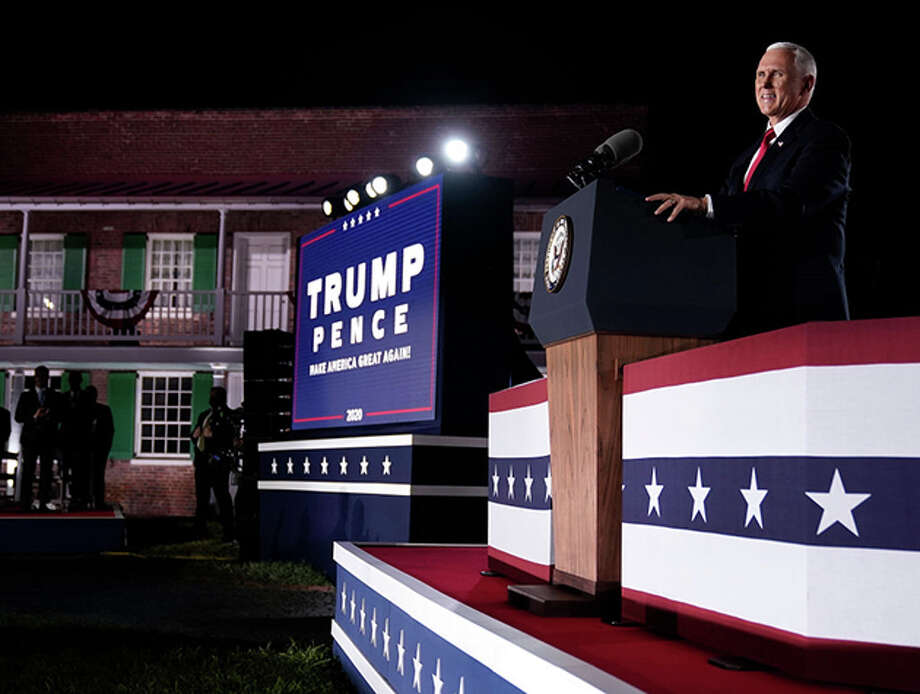 Mike Pence accepts the vice presidential nomination Wednesday during the Republican National Convention from Fort McHenry National Monument in Baltimore. Photo: Drew Angerer | Getty Images / 2020 Getty Images
