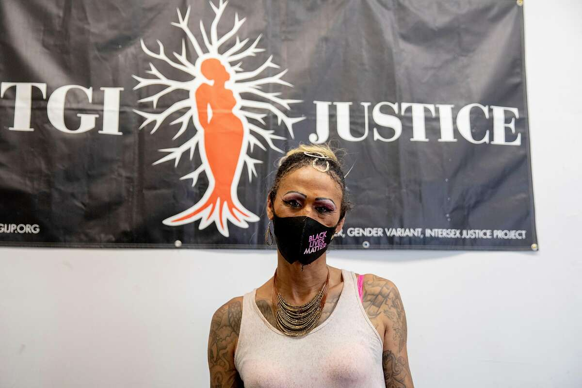 Jasmine Jones poses for a portrait at TGI Justice in San Francisco, Calif. Tuesday, August 11, 2020. Jones is a trans woman who was released from CDCR custody in May. Jones was housed with male inmates during her 17-year sentence, despite her pleas to be housed with other women. Jones said she was repeatedly raped and assaulted by men in prison. She is now working with the TGI Justice Project, a trans advocacy group, to help protect other trans women still in prison, and advocate for new CDCR policies. SB132, by state Sen. Scott Wiener, would require the state to house trans people with the gender where they feel safest. It would also require the state to use their correct pronouns and follow search and pat-down policies that apply to their gender.
