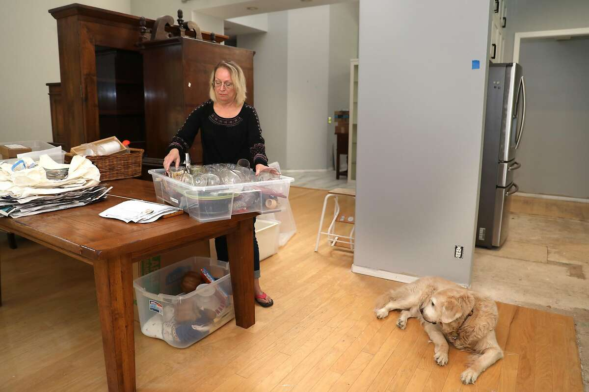 Cathy Rigl has been renovating her kitchen and dining room at home as her dog Lucy watches on Thursday, Aug. 27, 2020, in Pleasanton, Calif. She worked as an independent contractor doing corporate training for Signature Worldwide. As a fun side job, she also worked a couple times a month at Wente Vineyards as an ambassador. As she lost her jobs she was shocked to learn that her weekly unemployment payment would be $56 a week, based entirely on her winery W2 wages.