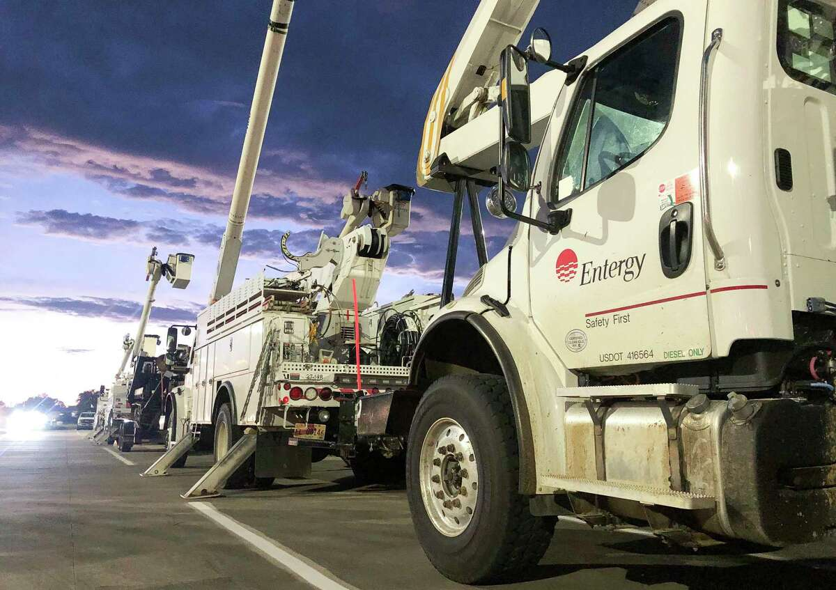 Entergy crews gathered at Woodforest Bank Stadium to caravan with additional crews and vechiles to assit those affect by Hurricane Laura, Thursday, Aug. 27, 2020.