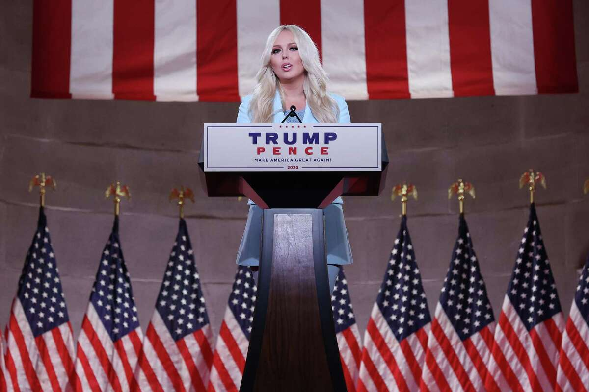 Tiffany Trump, daughter of President Donald Trump, pre-records her address to the Republican National Convention inside an empty Mellon Auditorium Aug. 24 in Washington, DC. The novel coronavirus pandemic has forced the Republican Party to move away from an in-person convention to a televised format, similar to the Democratic Party's convention a week earlier.