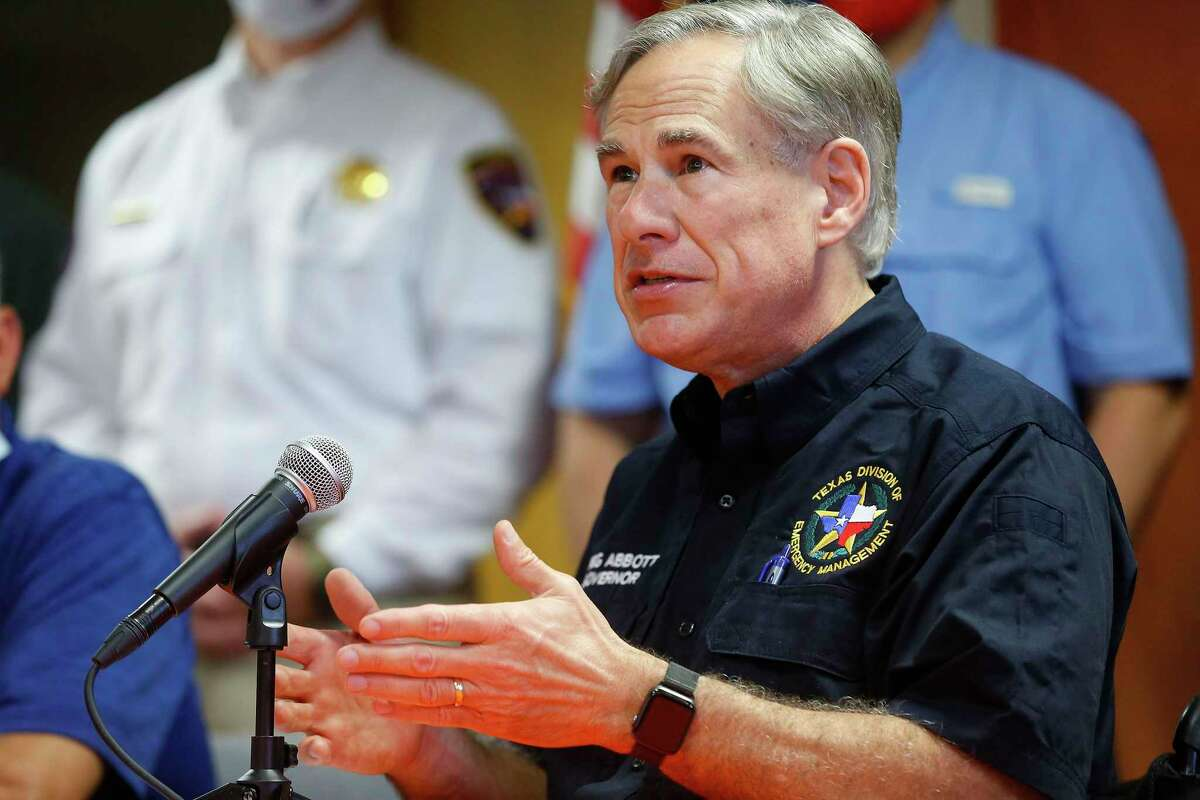Texas Gov. Greg Abbott addresses the media with other members of local and national government about the area's response to Hurricane Laura, Thursday, Aug. 27, 2020, in Orange, Texas.