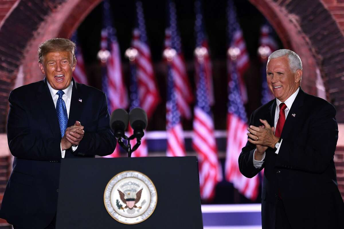 US President Donald Trump and US Vice President Mike Pence attend the third night of the Republican National Convention at Fort McHenry National Monument in Baltimore, Maryland, August 26, 2020.