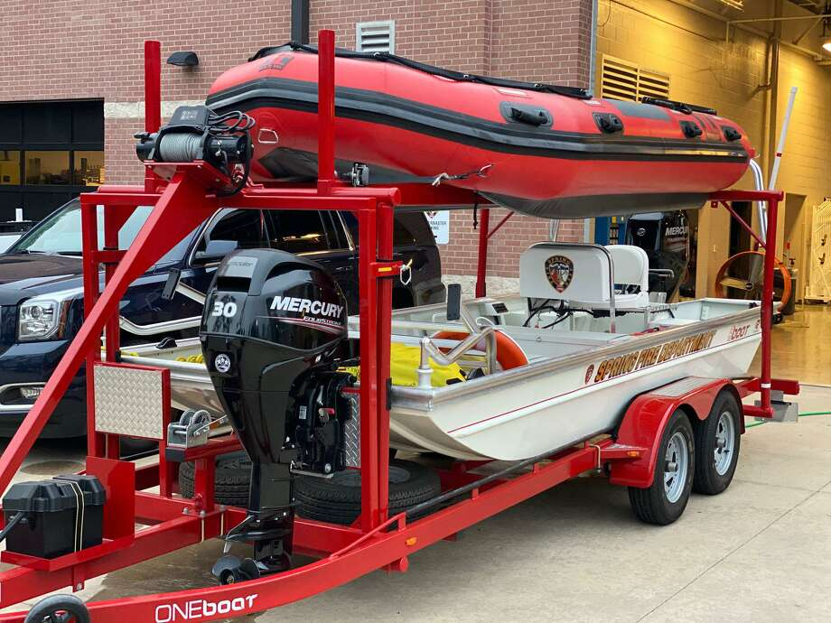 Spring Fire Department boats and high-water vehicles prepared for Hurricane Laura. Photo: Courtesy Of Spring Fire Department