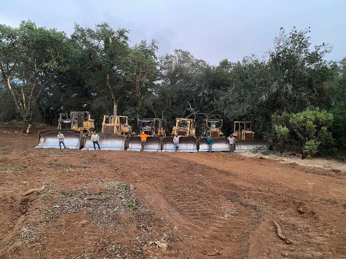 Crews that had been working on developing new vineyards on Napa's Pritchard Hill switched gears on Aug. 21, using their bulldozers to instead create fire breaks.