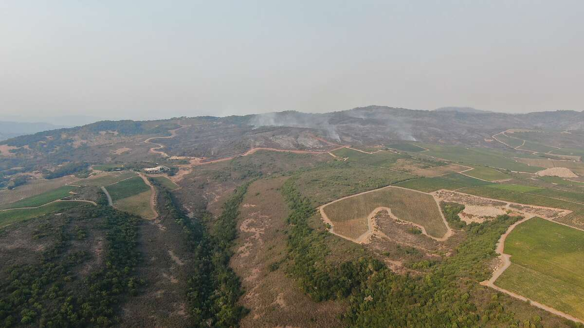Photos captured by Matt Weinert of High Demand Earth Moving show the efforts to clear a fire line at vineyards in Pritchard Hill, Napa Valley, August 18-21, 2020.