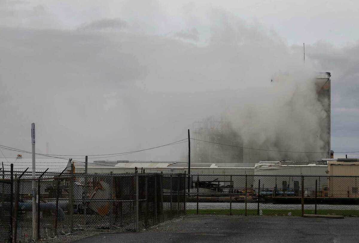 Smoke billows from a chemical plant in the aftermath of Hurricane Laura, Thursday, Aug. 27, 2020, near Lake Charles, LA.