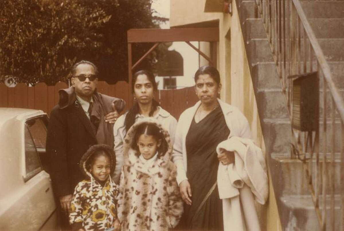 Kamala Harris, center front, stands with her sister, Maya, mother, Shyamala, and her maternal grandparents in this undated photo.