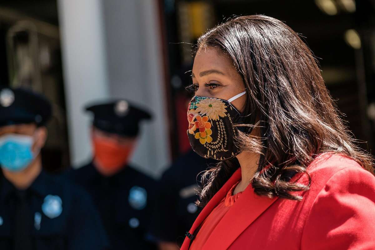 Mayor London Breed addresses firefighters and paramedics at Fire Station 6 before distributing meals from Z Zoul Sudanese Cafe as part of International Firefighters Day. in San Francisco, Calif. on Monday, May 4, 2020.