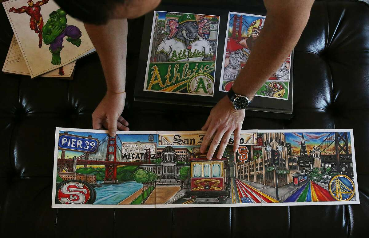 Jeffrey Choate displays some of his artwork in the living room at his home on Tuesday, August 11, 2020 in Clayton, Calif.