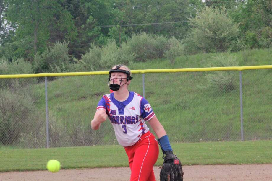 Chippewa Hills' Macy Blaczy throws a pitch during the 2019 softball season. (Pioneer photo file)