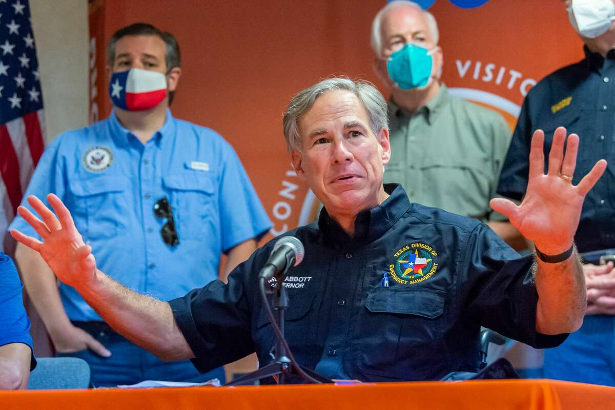 Governor Greg Abbott and Orange County Judge John Gothia held a joint press conference with a number of legislators and local leaders at the Orange City Hall to talk about the impact of Hurricane Laura. Photo made on August 27, 2020. Fran Ruchalski/The Enterprise