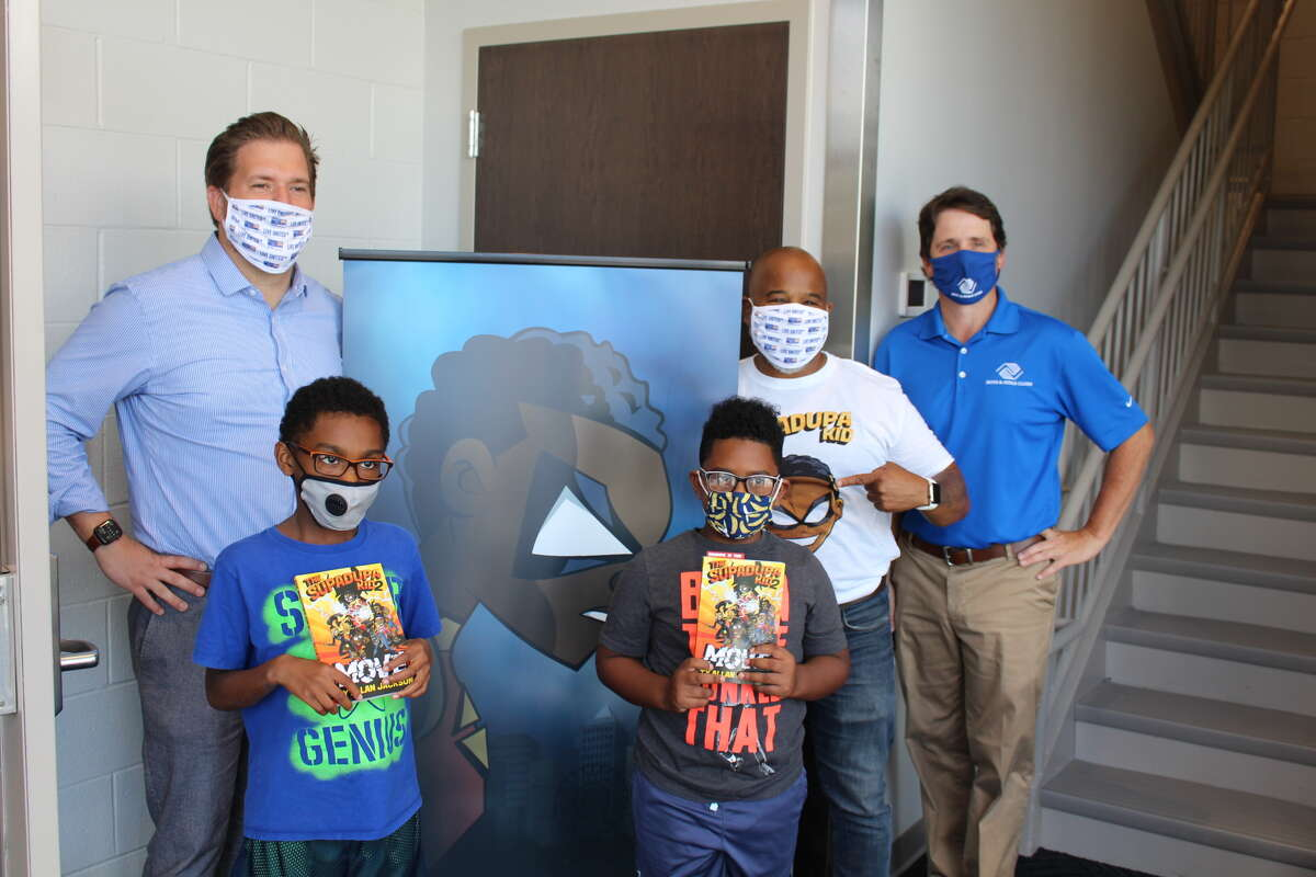 Peter Gannon, President & CEO, United Way of the Greater Capital Region; Boys & Girls Clubs of Schenectady summer camp participants; Ty Allan Jackson, Award-Winning Children's Author; and Shane Bargy, Executive Director, Boys & Girls Clubs of Schenectady. (Submitted)