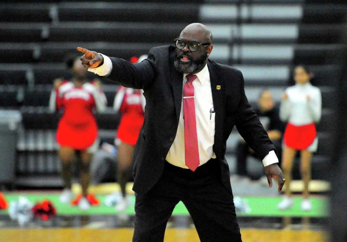 Wilbur Cross boys basketball coach Kevin Walton during a game against rival Hillhouse in New Haven in 2019.