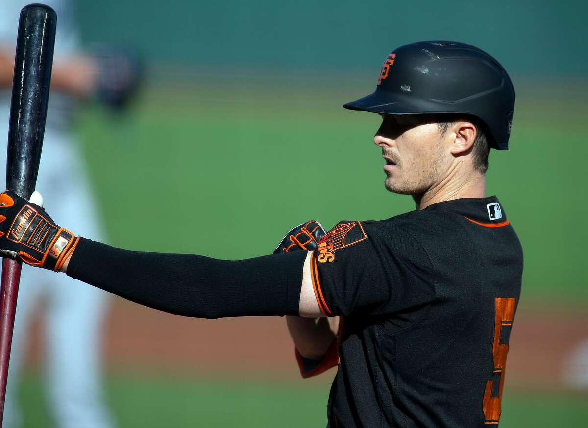 The Giants' Mike Yastrzemski batted .297 with 10 homers and an OPS of .968 in the 2020 season.