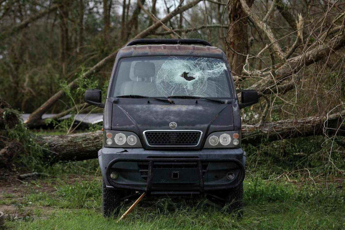 A damaged vehicle in Grand Lake, La., after Hurricane Laura moved through the area Thursday, Aug. 27, 2020.