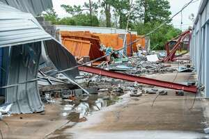 The Purely Storage facility in Bridge City sustained major damage during the hurricane. While not as much as predicted, Hurricane Laura had a big impact on Southeast Texas. Photo made on August 27, 2020.  Fran Ruchalski/The Enterprise